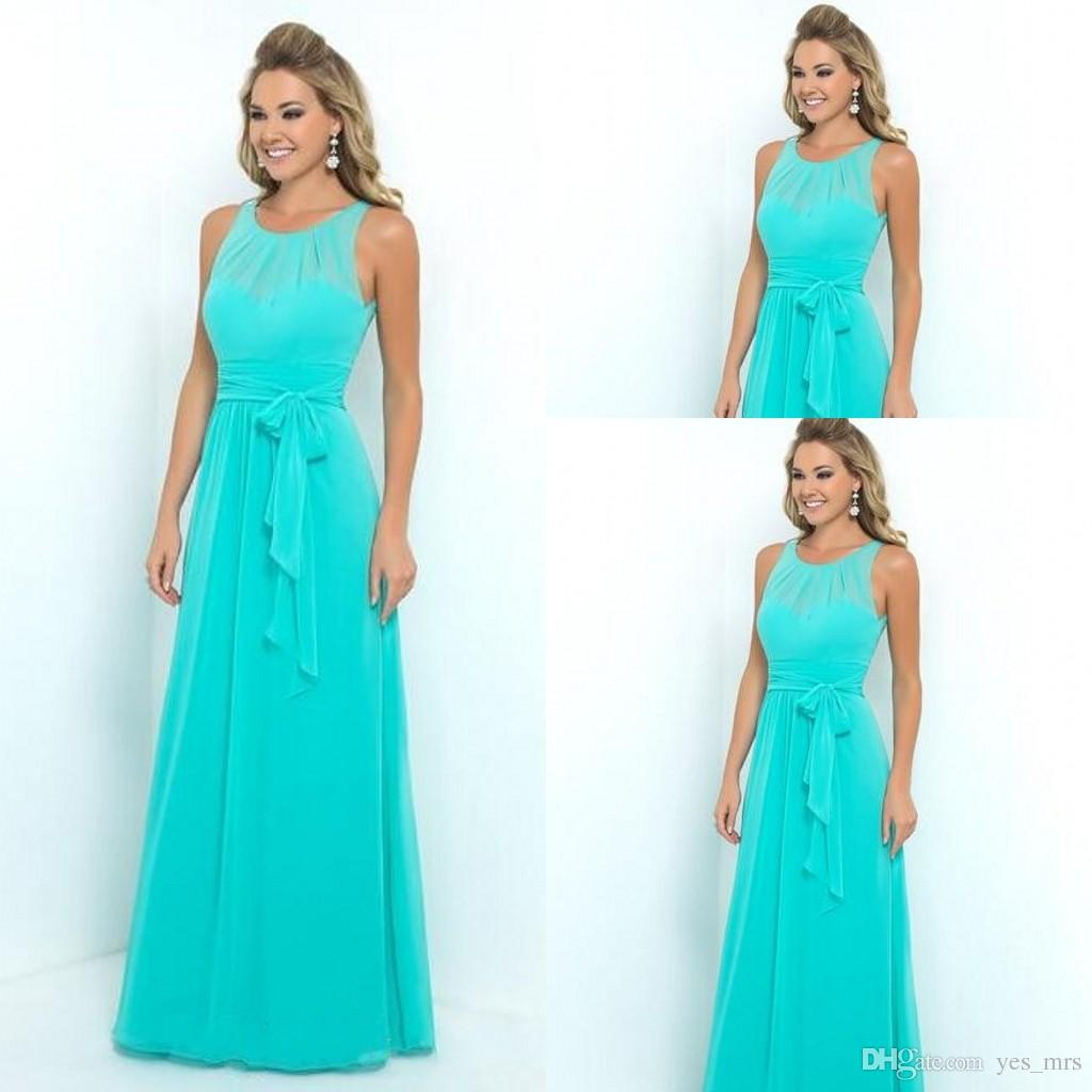 Turquoise bridesmaid dresses 2016 jewel neck illusion for Turquoise bridesmaid dresses for beach wedding