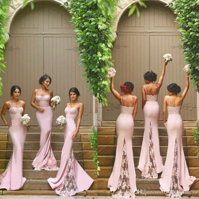 Blush Pink Wedding Guest Dresses 2016 Mermaid Spaghetti