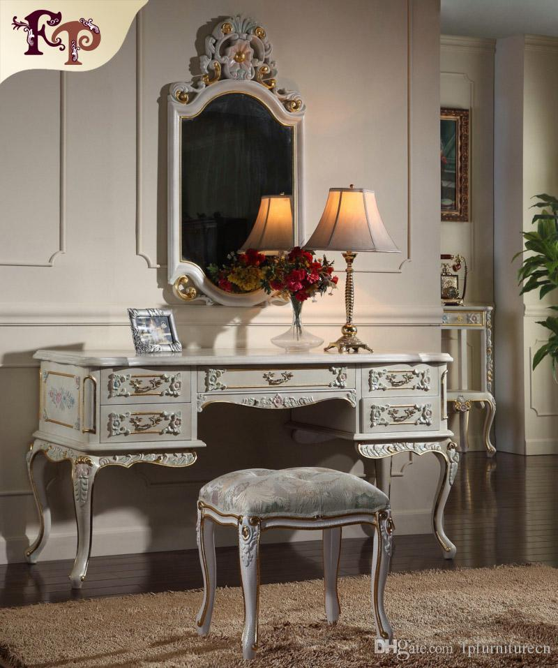 French provincial furniture -Luxury European royalty classic bedroom  furniture set - handmade solid wood dressing
