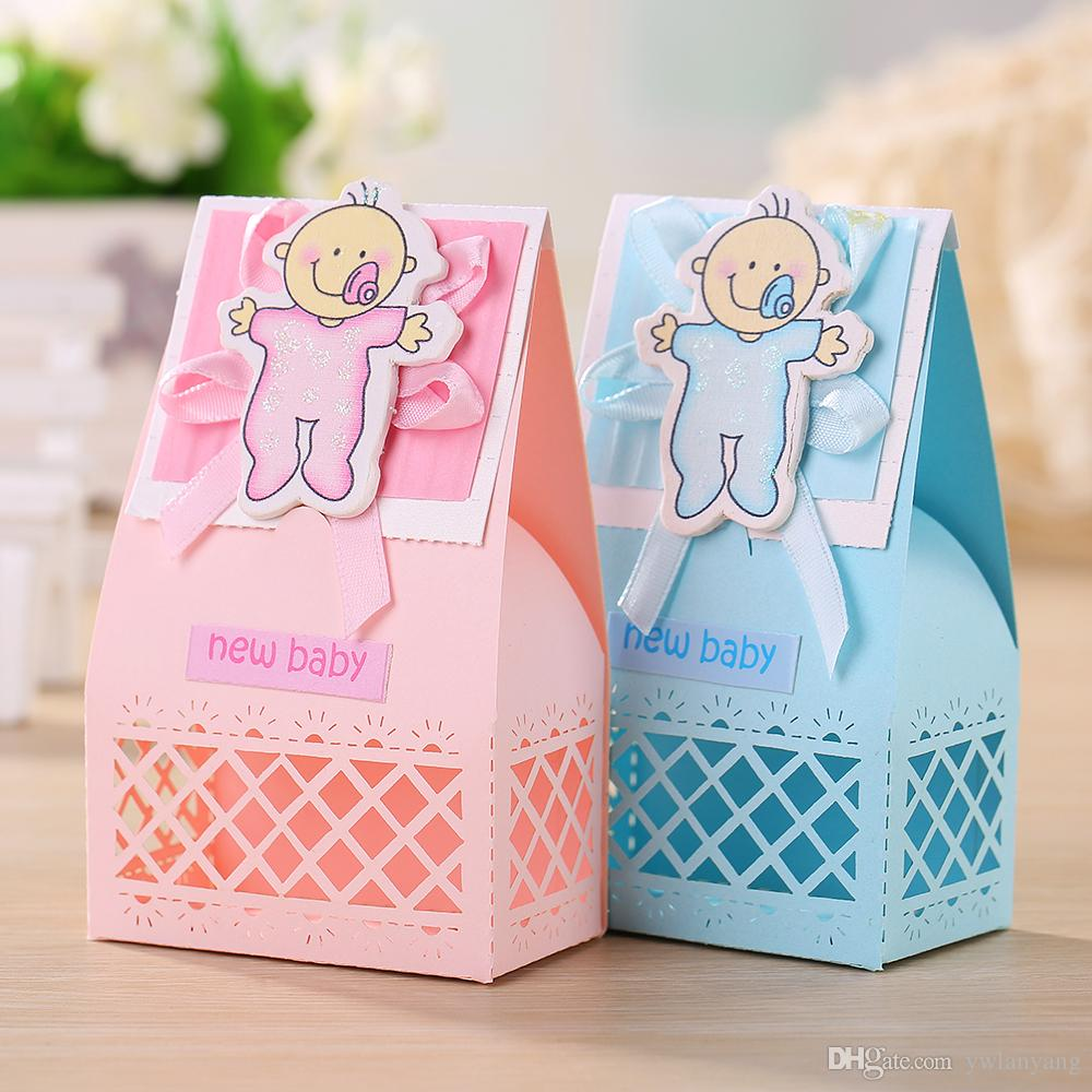 Blue Lightning Favor Boxes : Pink and blue cute baby favors boxes shower