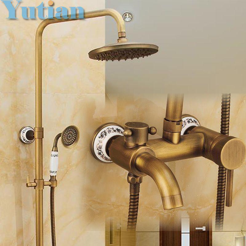 Antique Brass Wall Mounted Mixer Valve Rainfall Shower Faucet Complete Sets  + 8 Brass Shower Head Antique Brass Shower Set Bathroom Shower Mixer Shower  ...