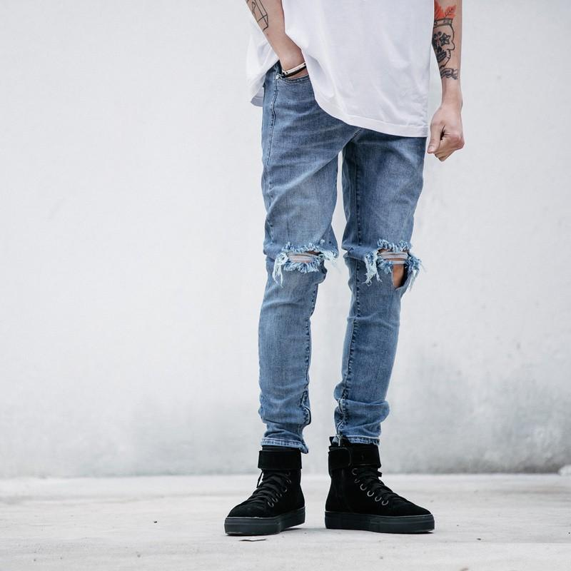Online Cheap 2016 Fashion High Street Mens Destroyed Jeans Hole