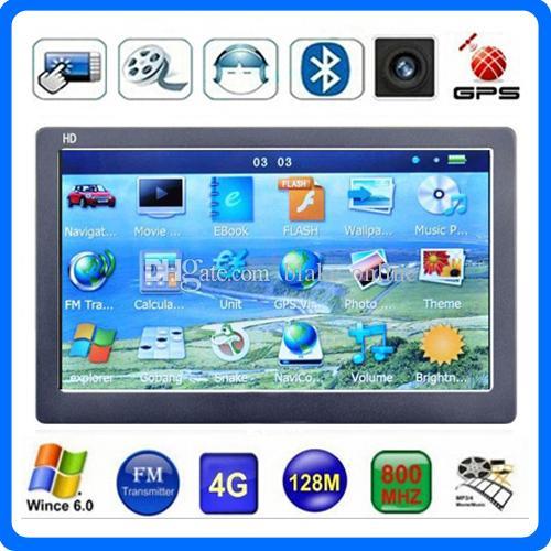 "New 7"" Car GPS Navigator Bluetooth AVIN GPS CPU 800*480 MP4 FM Transmitter HD Touch Screen 4GB IGO Primo 3D Maps"