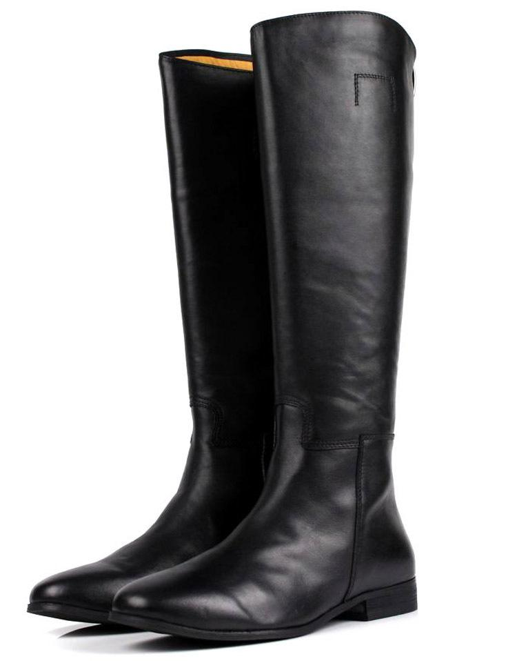 Large Size Mens Knee High Boots Fashion Black Genuine Leather ...