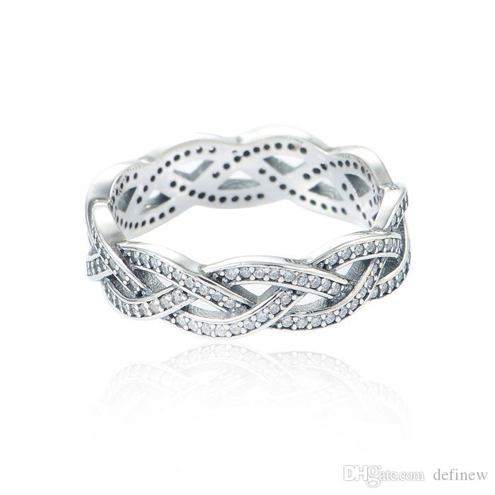Crown Silver Braided Rings 925 Ale Sterling Silver Rings Fashion