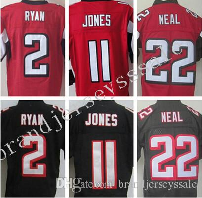 Meilleur maillot de qualité, Stiched Hommes 2 Matt Ryan 11 Julio Jones 22 Maillo
