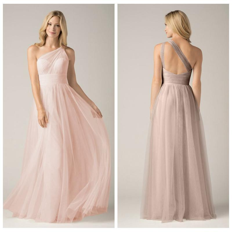 Dusty pink bridesmaid dresses soft tulle one shoulder for Soft pink wedding dress