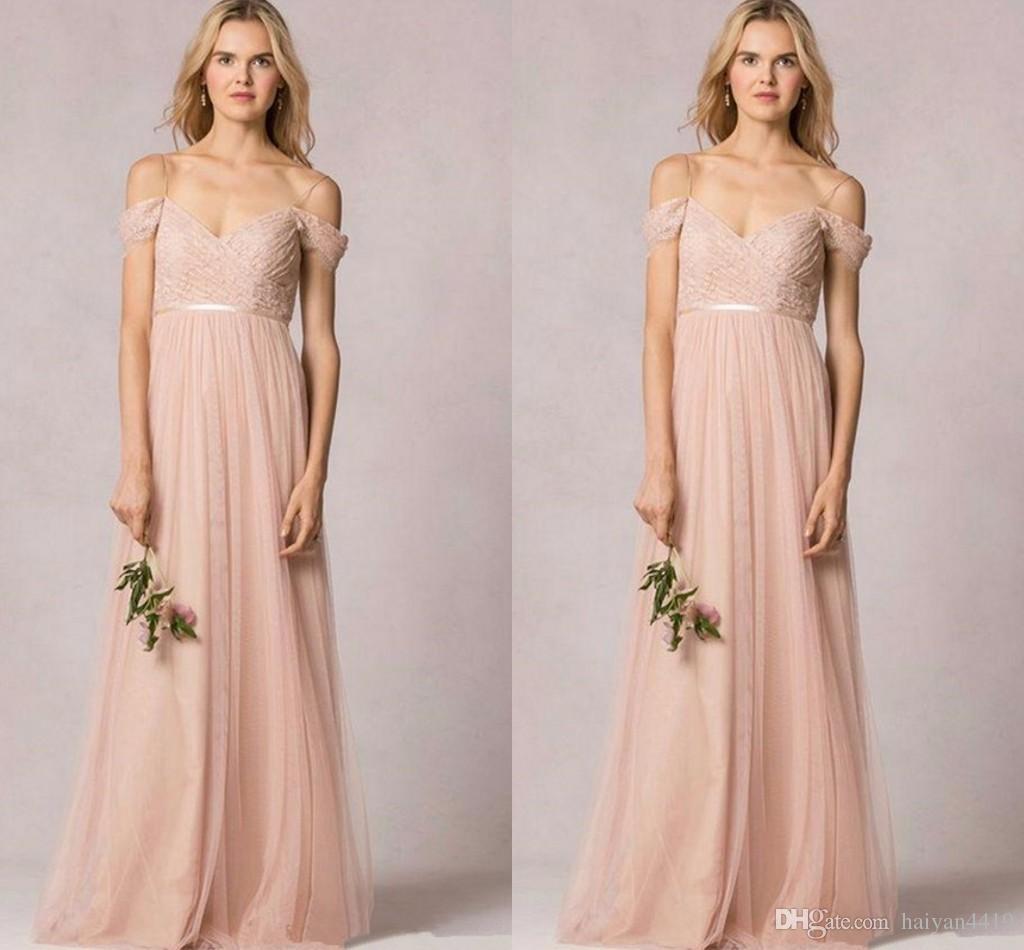 2017 new long bridesmaid dresses off shoulder cap sleeves for Wedding guest dress blush pink