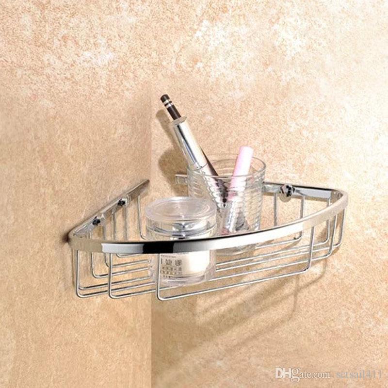 high quality single layer brass chrome shower wall mount corner shelf basket holder bathroom corner basket bathroom corner basket corner shelf corner basket