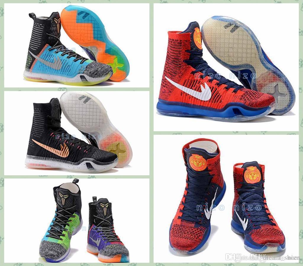 2016 Kobe 10 Elite Basketball Shoes Mens Weaving High Top ...