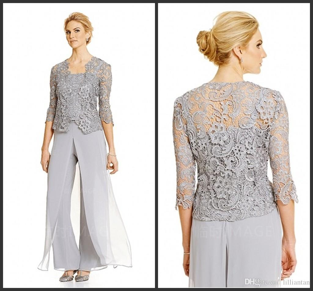 Silver Chiffon Mother S Pant Suits With Lace Jacket Women