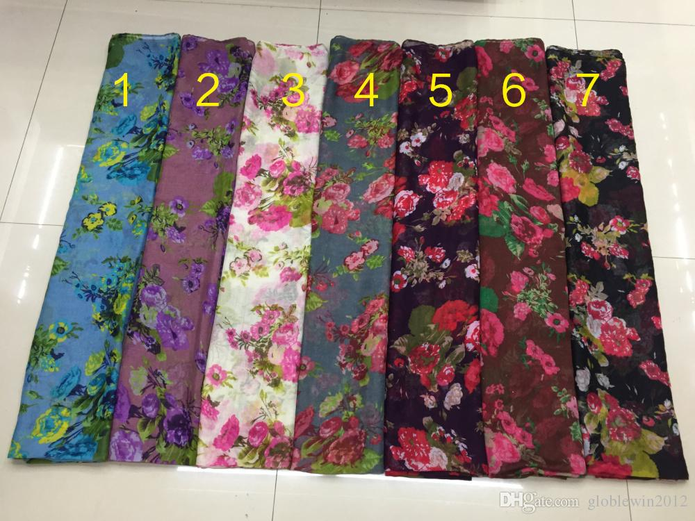 New women scarves rose flower print scarf shawl lady flower blossom