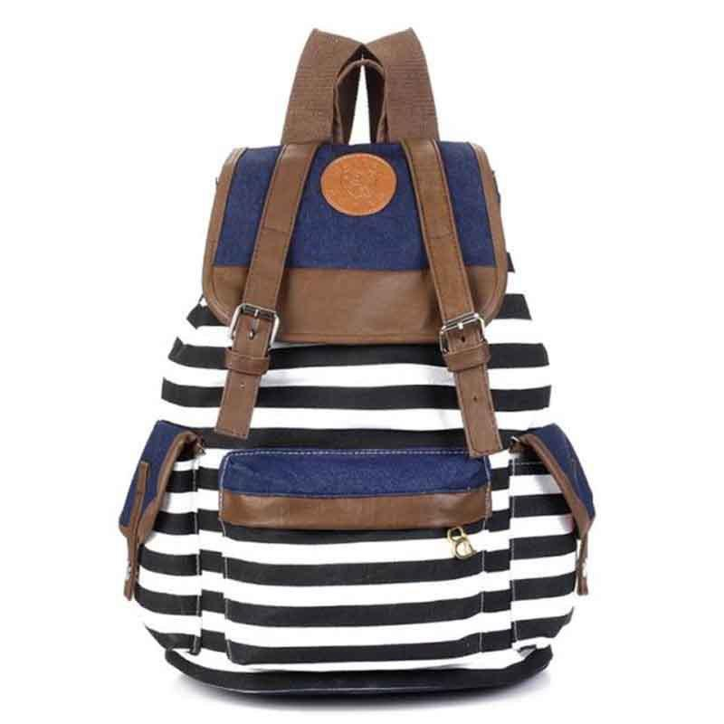 Cheap Products 2015 Women Girl Striped Canvas Backpack Leisure ...