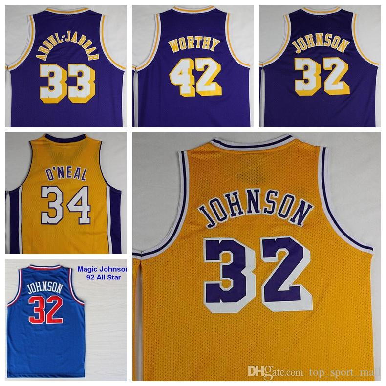 2016 Retro 32 Magic Johnson Jersey Throwback 33 Kareem Abdul Jabbar Shirt Abdul-