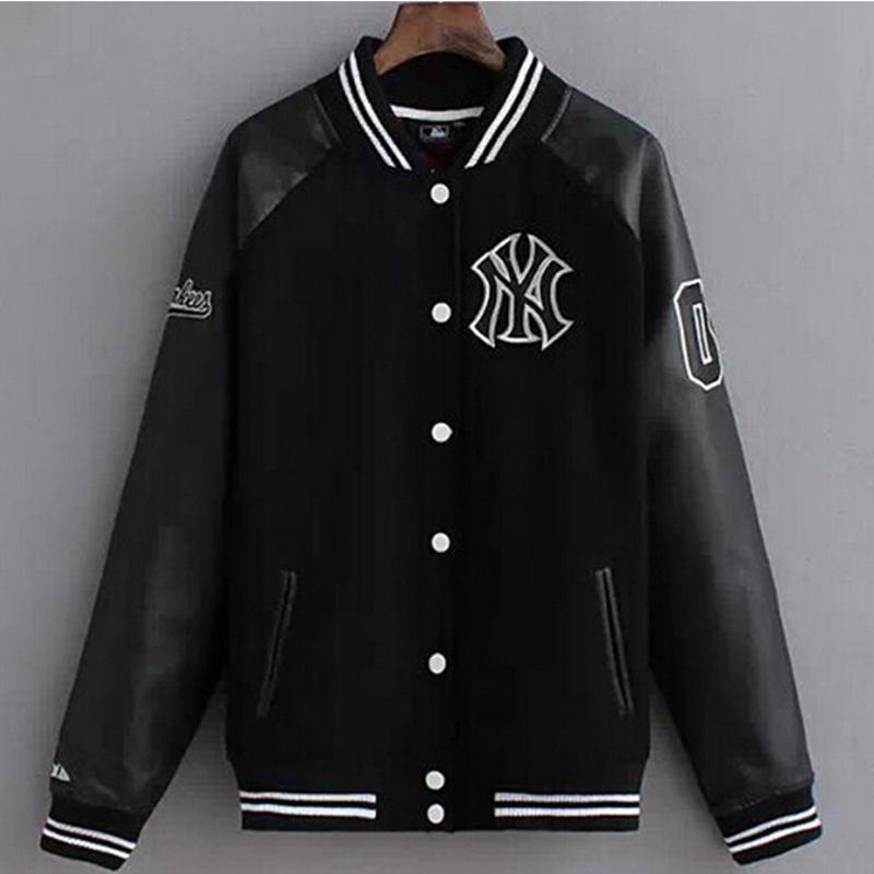 2016 Fashion Design College Baseball Jacket Men Black Letterman
