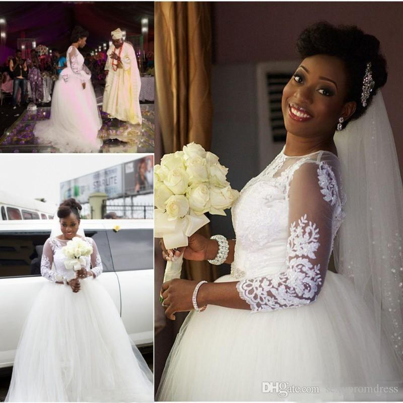 Wedding Ball Gowns For   In South Africa : Ball gown wedding dresses sheer neck long sleeves south african bridal