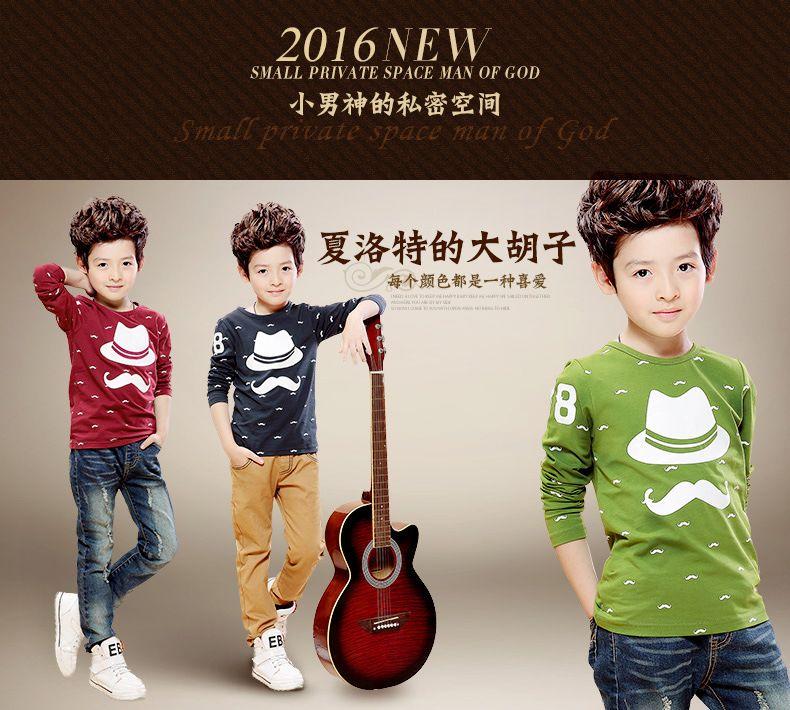 NEW kids T-shirts Beard boy t shirts Children's boys long sleeve autumn t-shirts