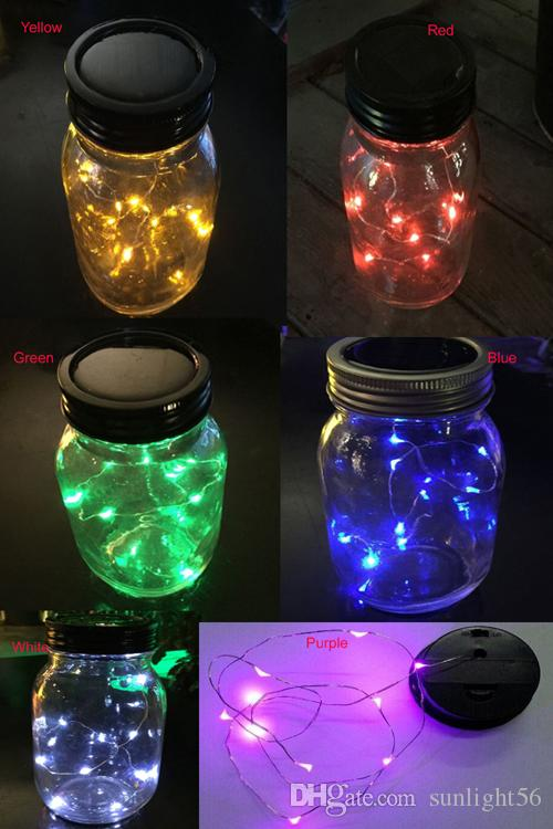 Nice Solar Lid Light Wholesale Part - 8: Wholesale-Solar Mason Twinkling String Light Lids, One Sting Has Single  Color LED Can Randomly Twinkling Solar LED Lid Lights Solar Mason Jar Lid  Solar ...