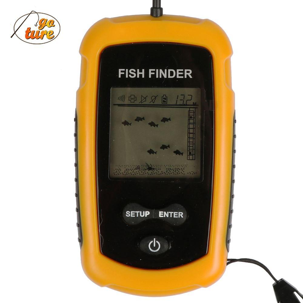 Goture portable fish finder depth sonar sounder alarm for Portable fish finder reviews