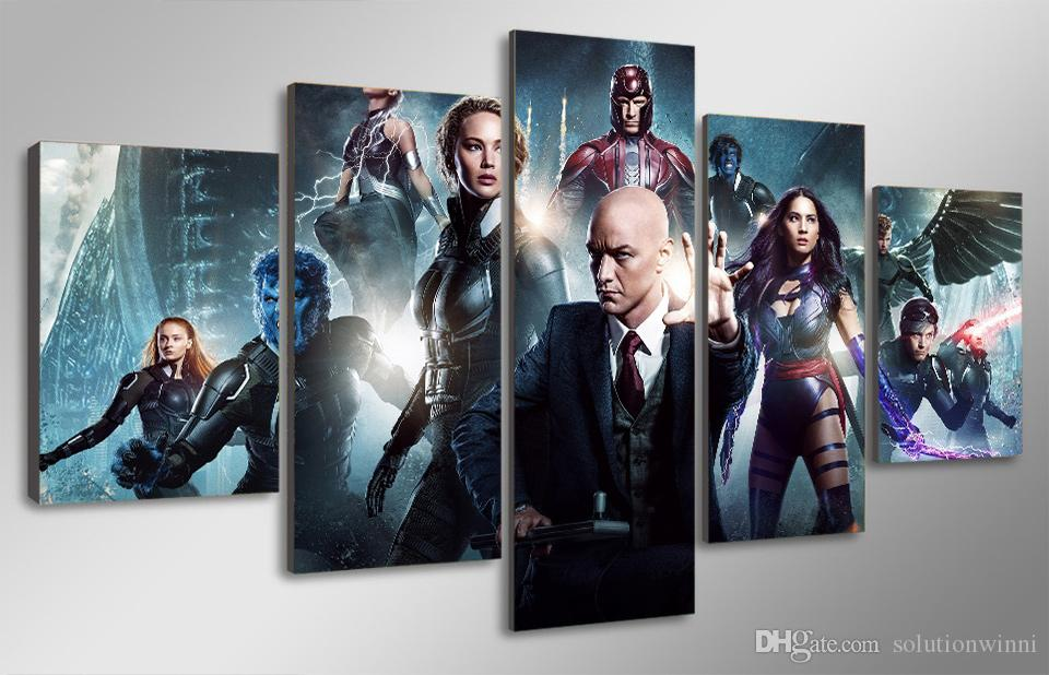 2017 5 panel hd printed x men apocalypse painting canvas for X men room decorations