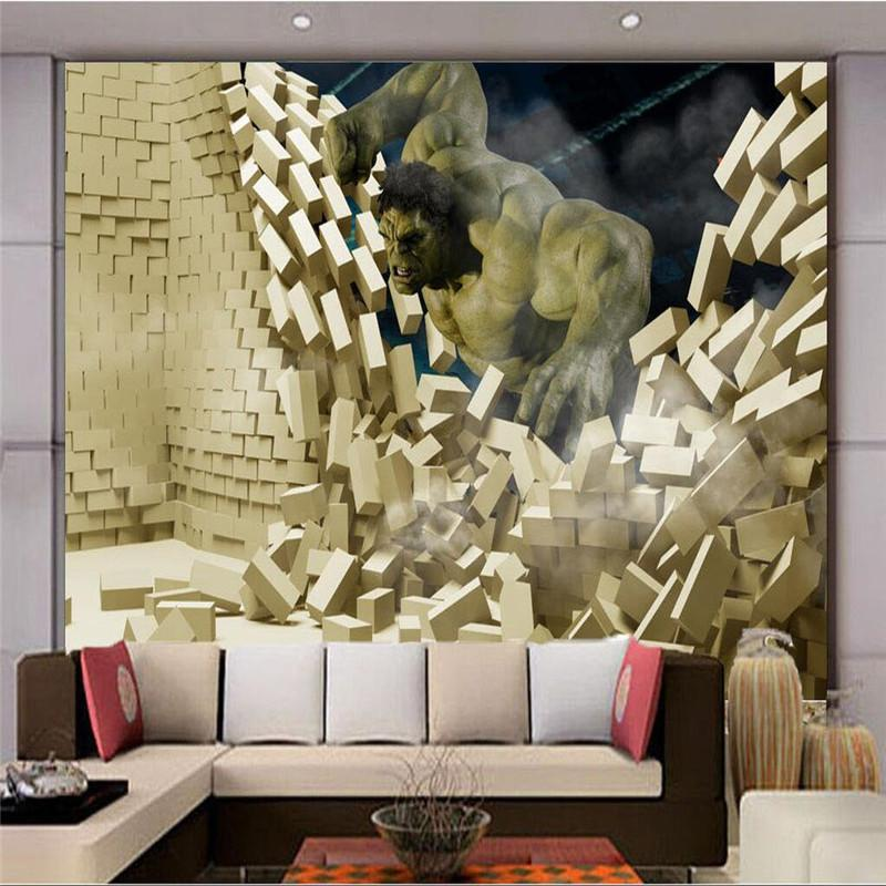 Avengers boys bedroom photo wallpaper 3d hulk wall mural for Boys mural wallpaper