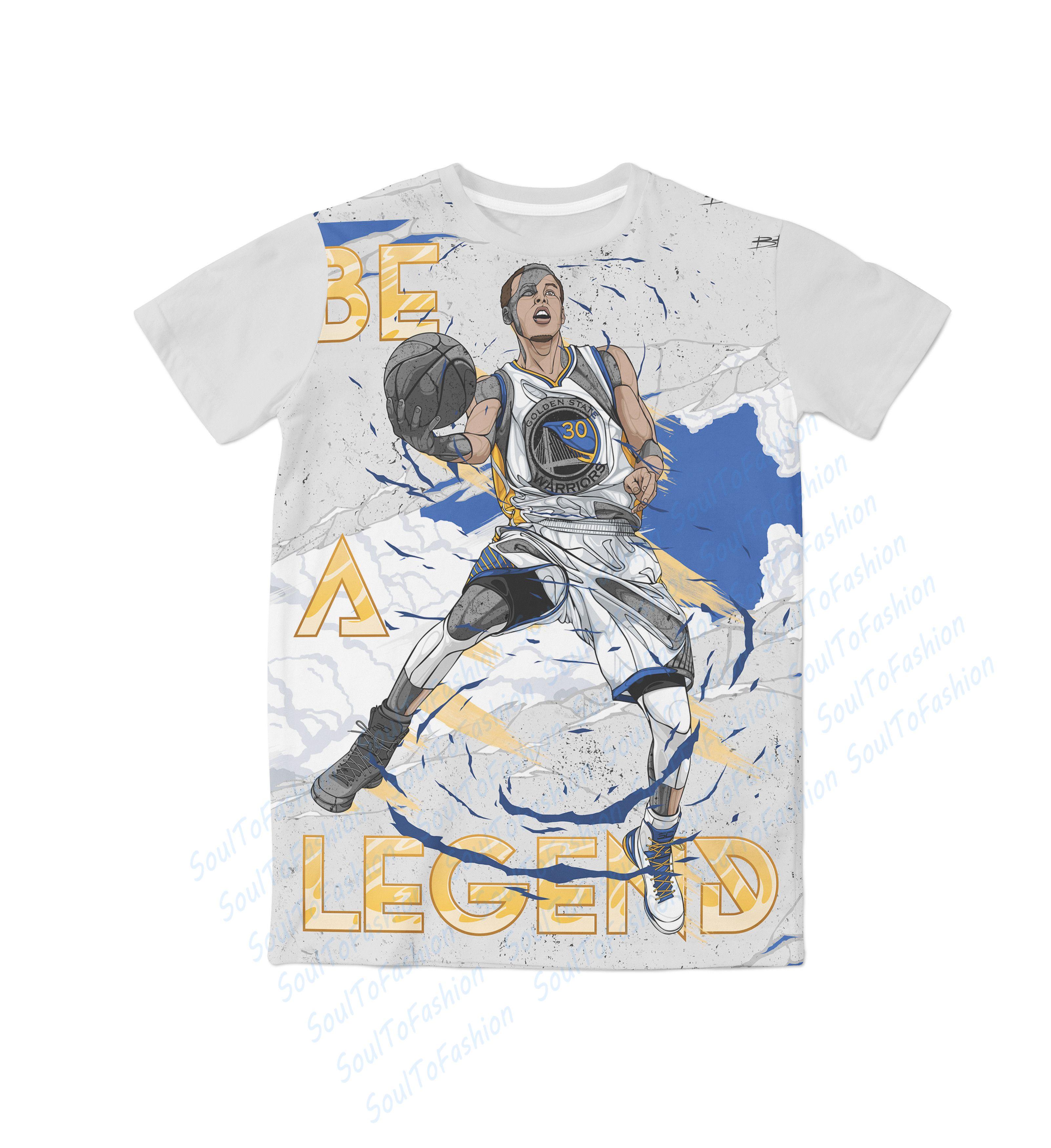 Shirt design usa - Real Usa Size Stephen Curry Be A Legend 3d Sublimation Print T Shirt Plus