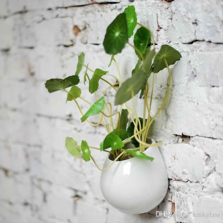 4 Super White Ceramic Wall Planters,Indoor Hanging Ceramic Pot ...