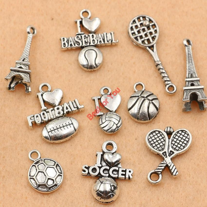 online cheap mixed tibetan silver plated love football