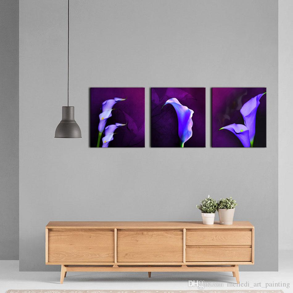 Three Panel Wall Art 3 panel wall art purple colorful flower petal the picture print on