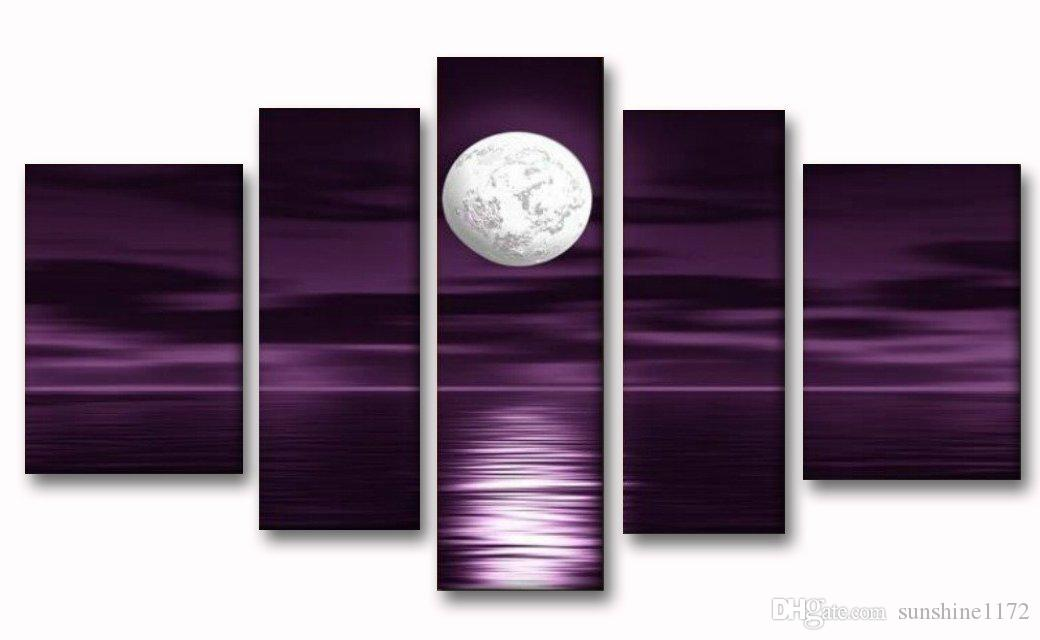 100 hand paint oil painting full moon sea night artwork home decoration 5 panel abstract - Dekoration Tren