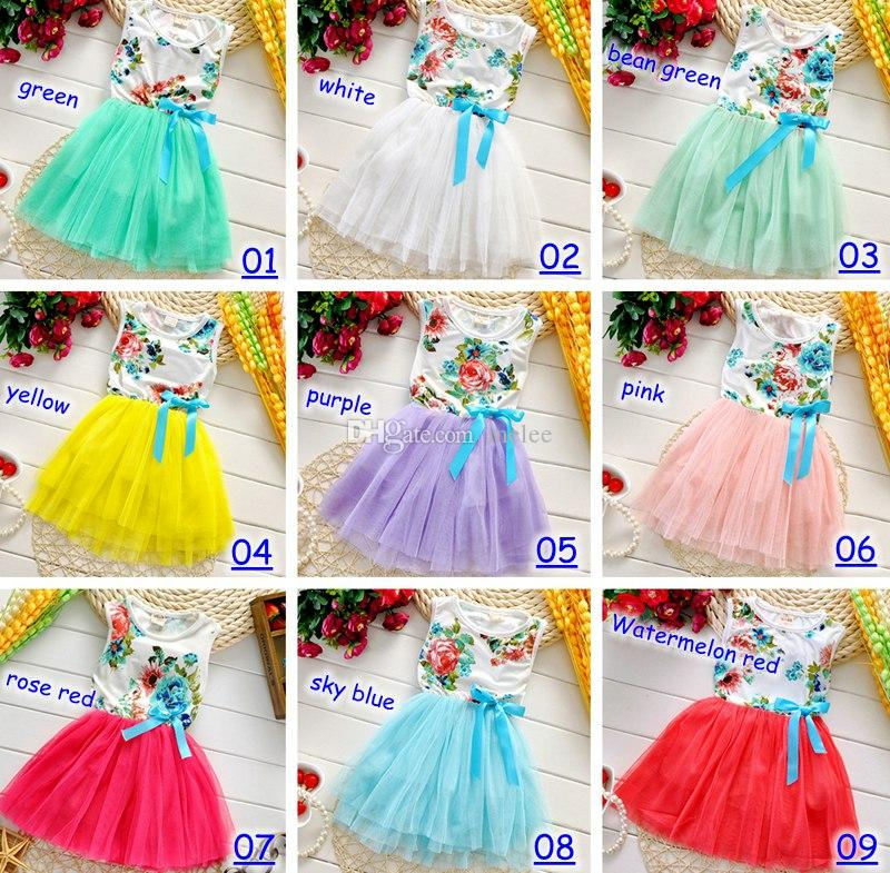Best Summer Baby Floral Dresses Girls Baby Tutu Dress Kids Clothes ...