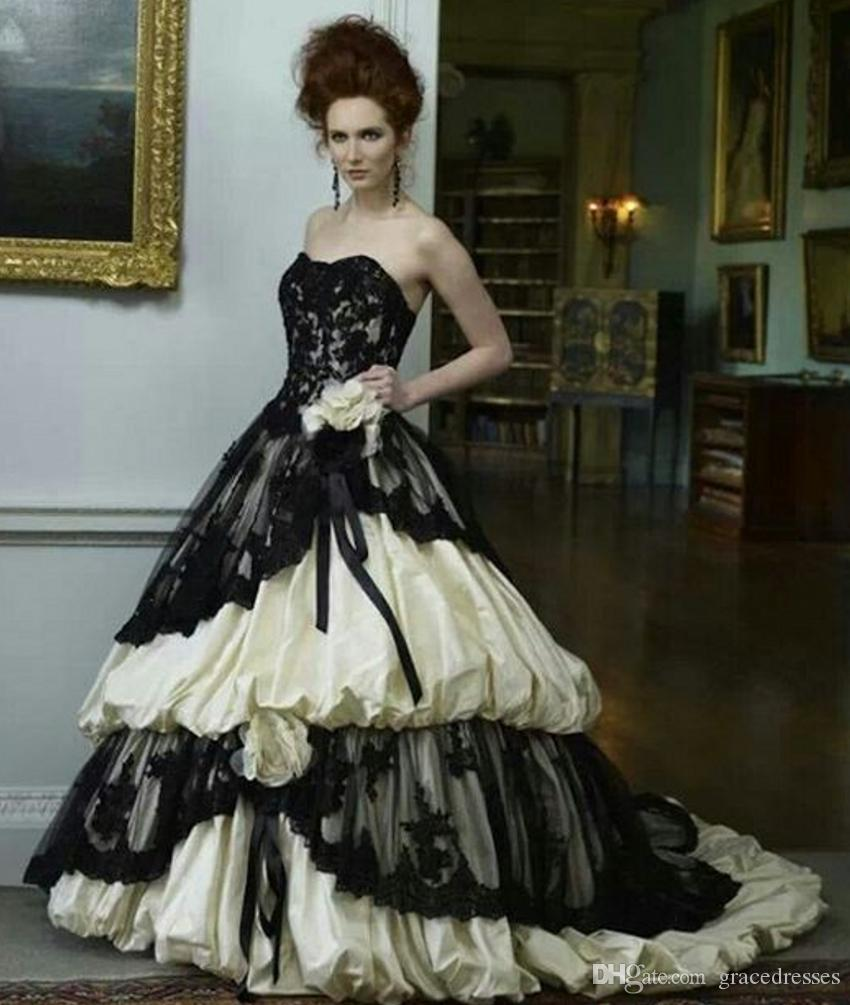 Victorian style wedding dress black and ivory sweetheart for How to dress up a black dress for a wedding