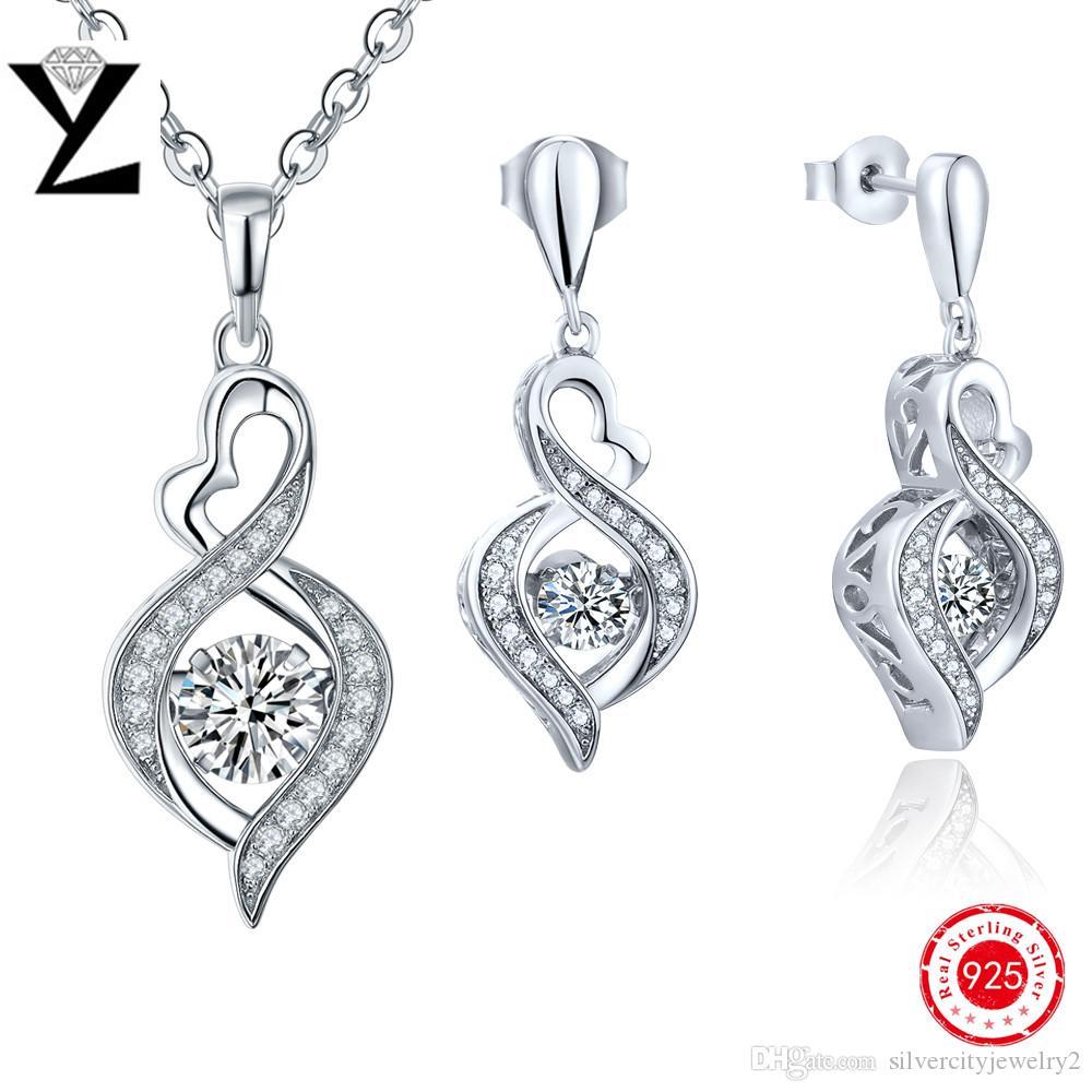 100% Real Pure 925 Sterling Silver Fashion Jewelry Sets Women Aaa Zircon  Dancing Cz Diamond Accessories Infinity Pendant & Earrings Dp18310a Dancing  Diamond
