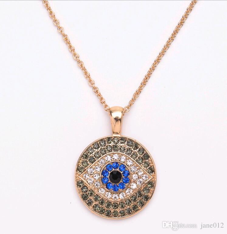 wholesale evil eye pendant necklace pave rhinestones