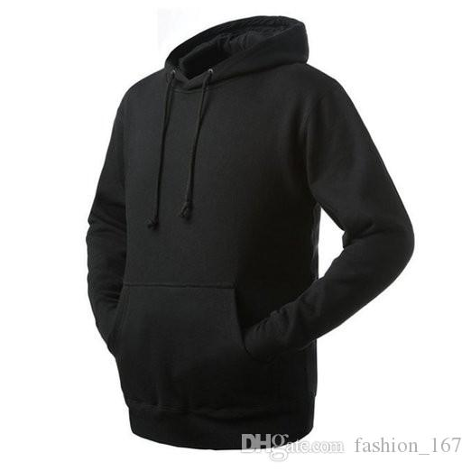 2017 Kangaroo Pocket Customized Wholesale Plain Black Hoodie With ...