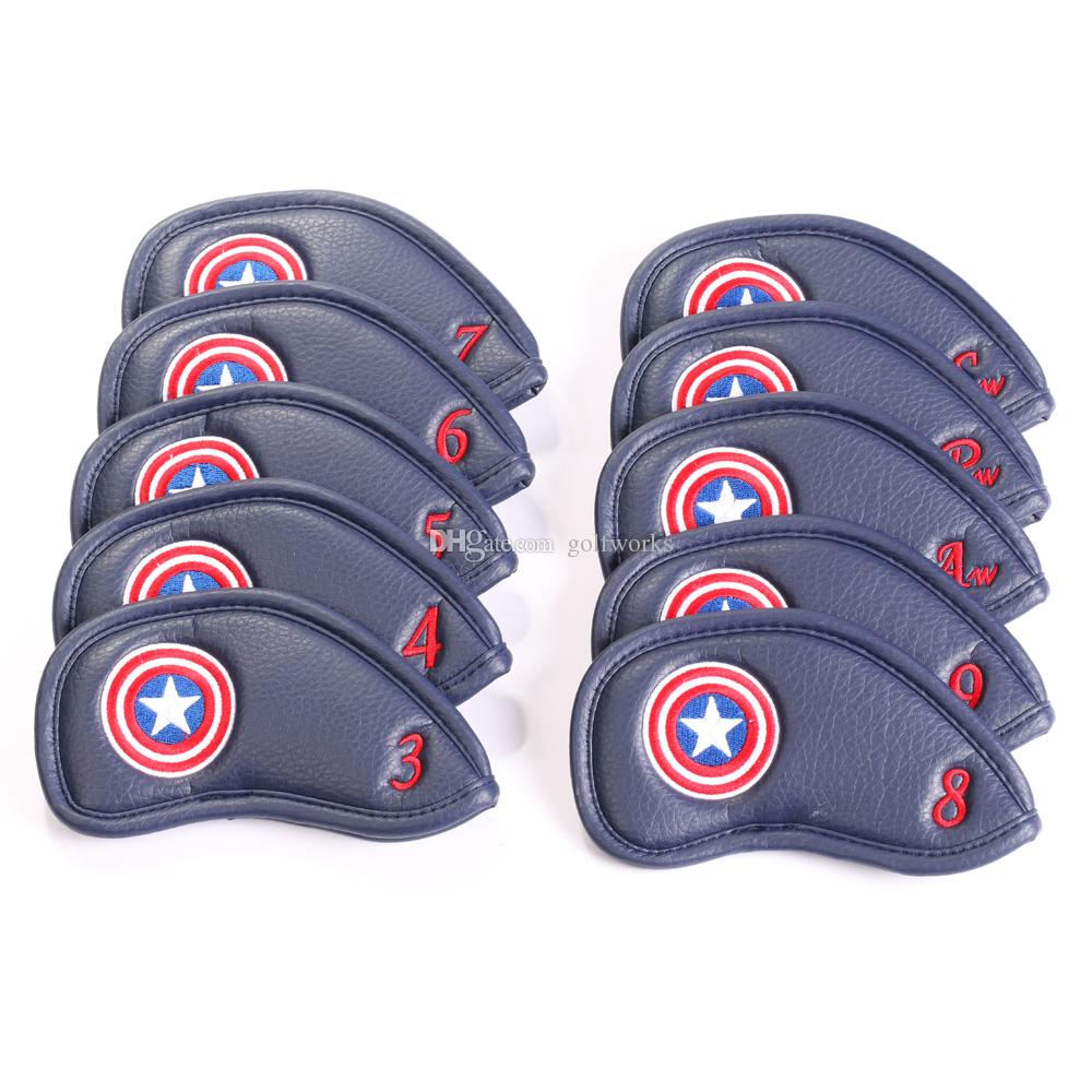 10Pcs / Set Captain America Style Thick en cuir synthétique Golf Club Iron Head