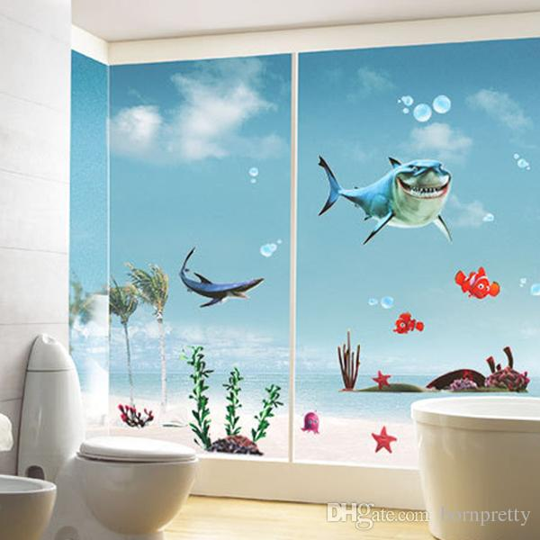 Sea Shark Wall Decal DIY Room Stickers Cute Sea World Removable Paper Mural  Home Decoration 19768