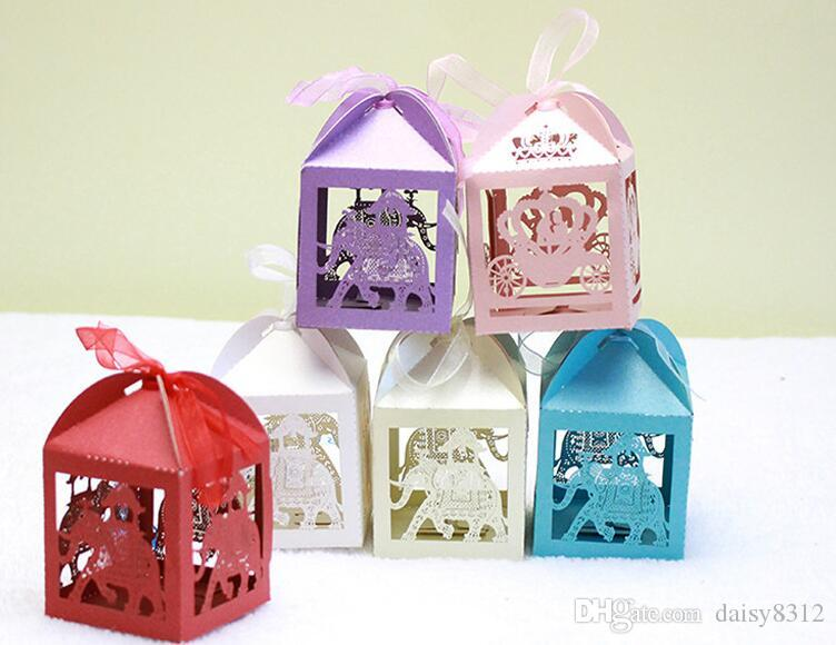Baby Gift Box Empty : Laser cut hollow elephant candy box chocolates boxes with