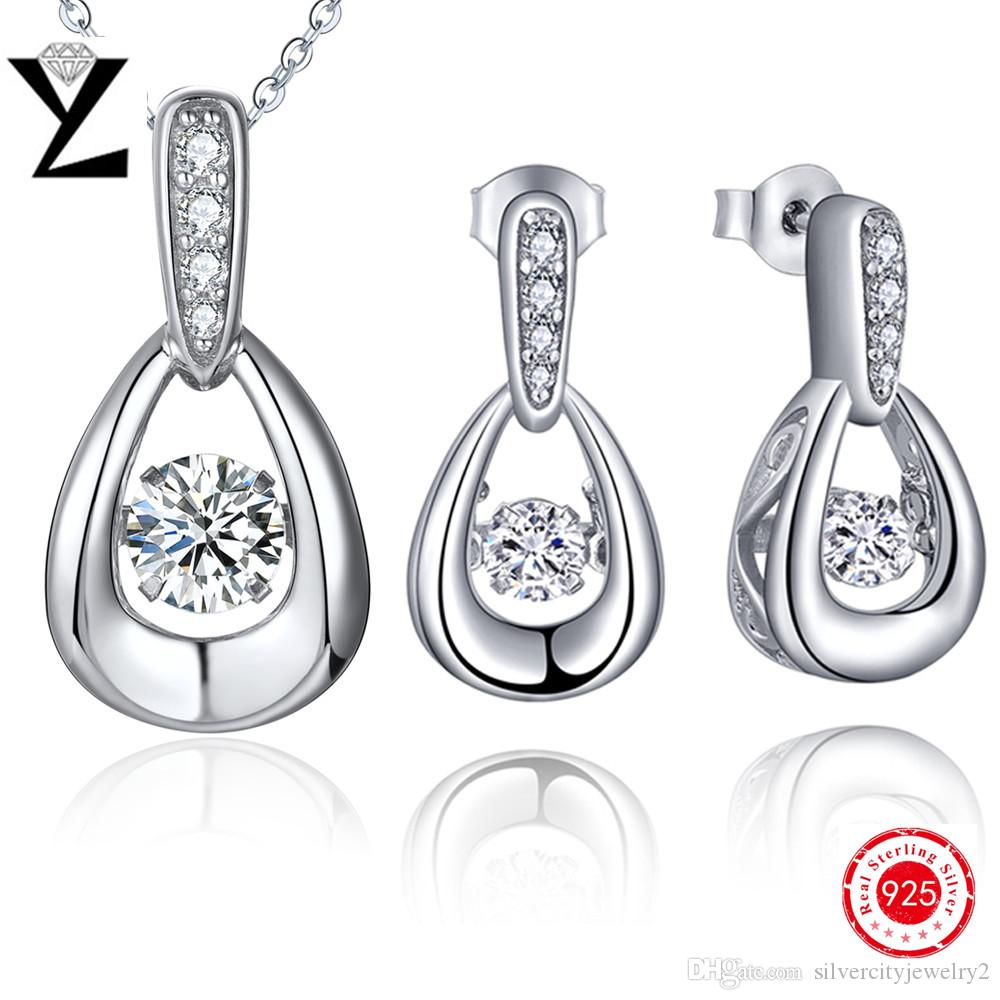 100% Silver Pendant Necklace Women 925 Sterling Silver Jewelry Sets Charm  Aaa Cz Crystal Dancing Created Diamond Earrings Jewelry Making Dancing  Diamond