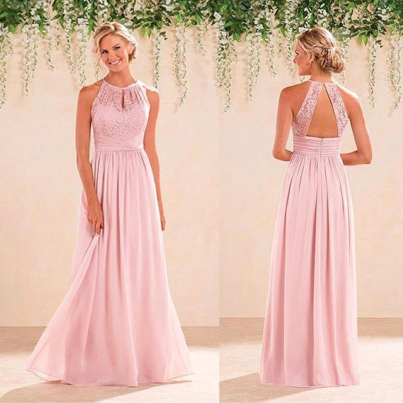 Blush pink halter neck lace chiffon long bridesmaid for Wedding guest dress blush pink