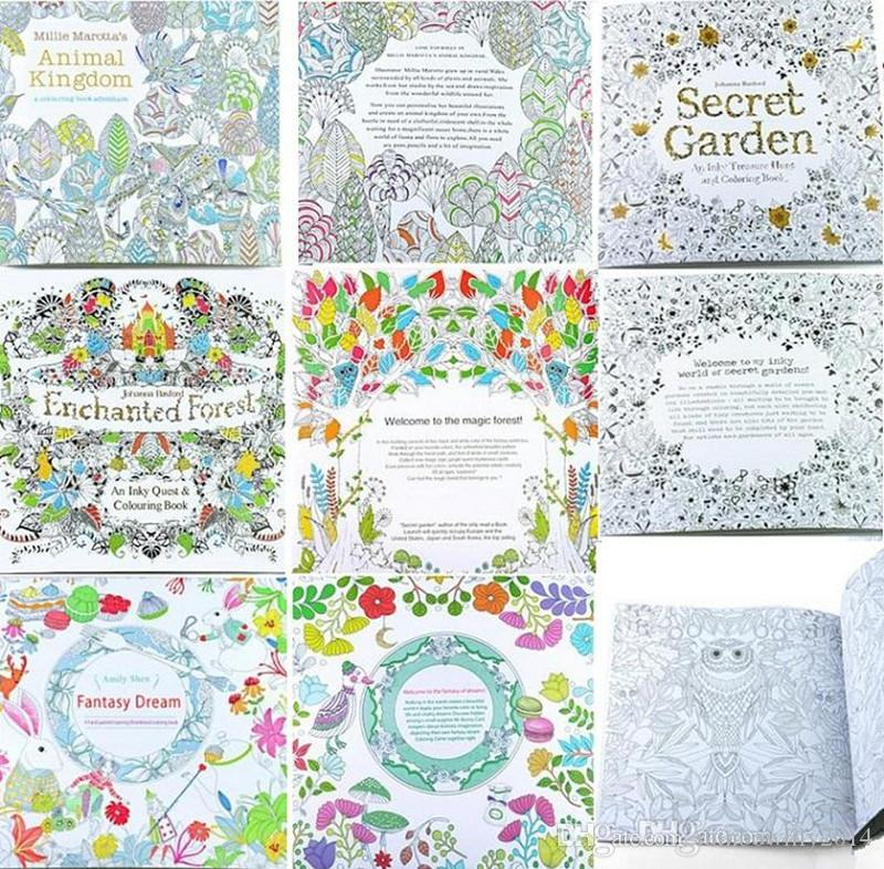 Adult Coloring Books 4 Designs Secret Garden Animal Kingdom Fantasy Dream And Enchanted Forest 24 Pages Kids Painting Colouring PAINTING BOOK