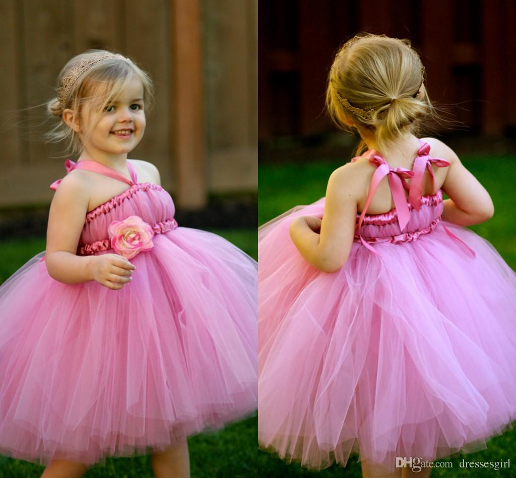 2016 Hot Long Sleeve Appliques Pink Flower Girl