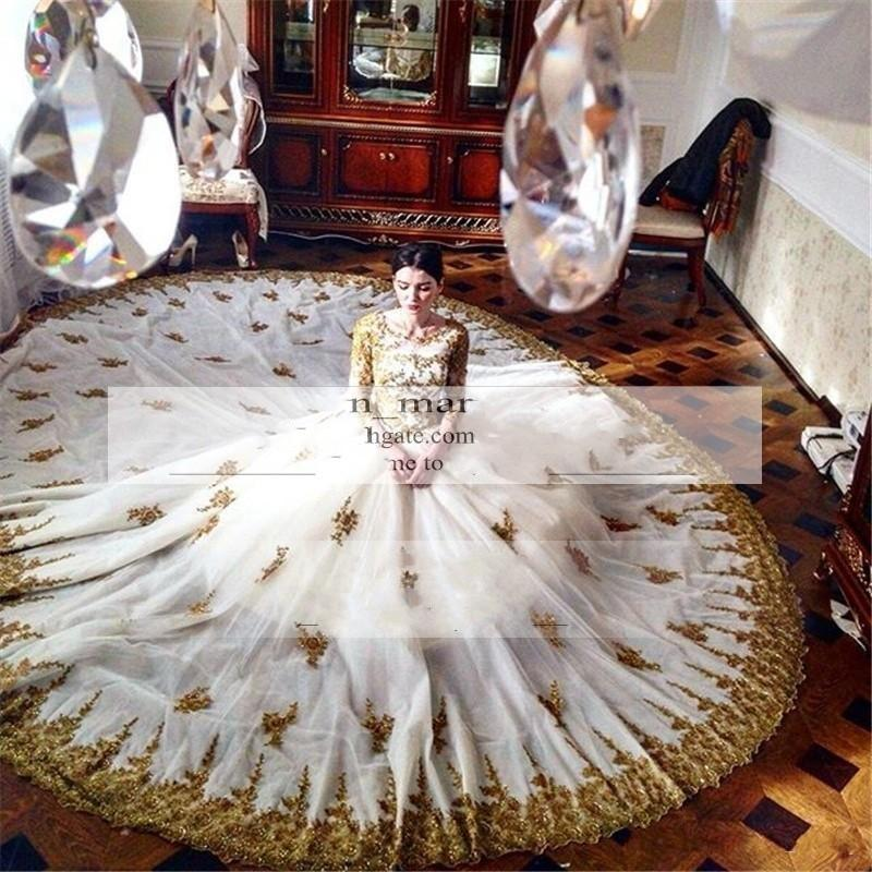 Gorgeous gold lace and white arabic african wedding for African white wedding dresses