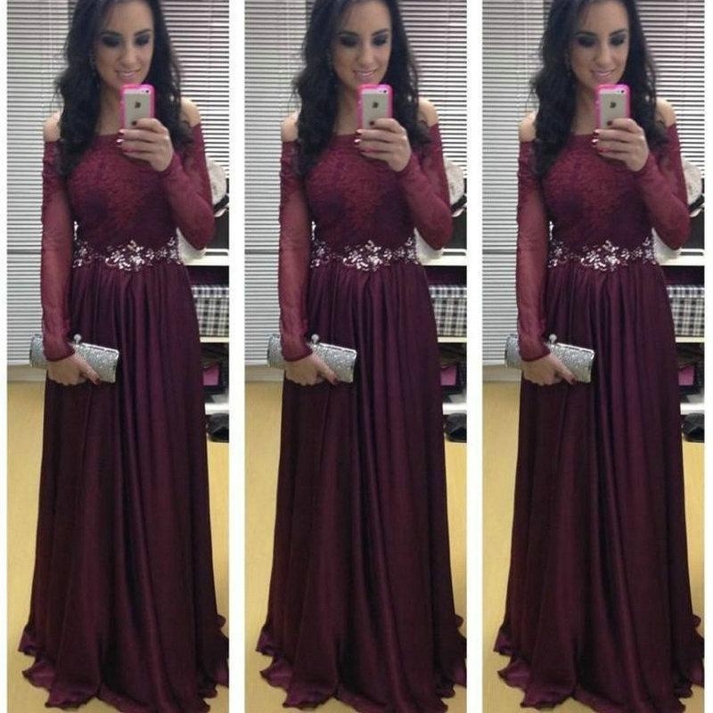 Dark Red Long Sleeves Prom Dresses 2016 Princess Off The Shoulder ...