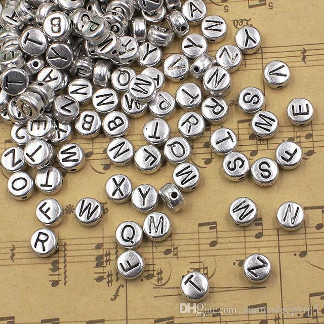 2017 metal zinc alloy silver tone round with letter beads for Round metal letter beads