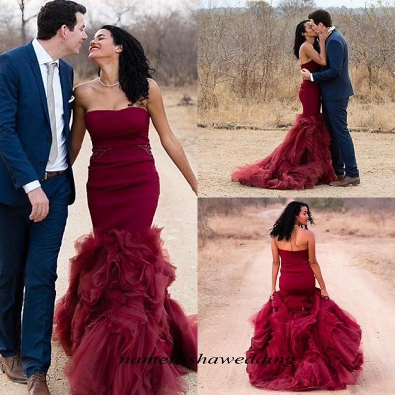 2016 mermaid burgundy wedding dresses vintage colorful for Red and black wedding dresses for sale