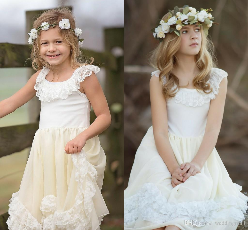 2016 Lace Vintage Cheap Flower Girl Dresses A line Baby Girl Birthday Party C