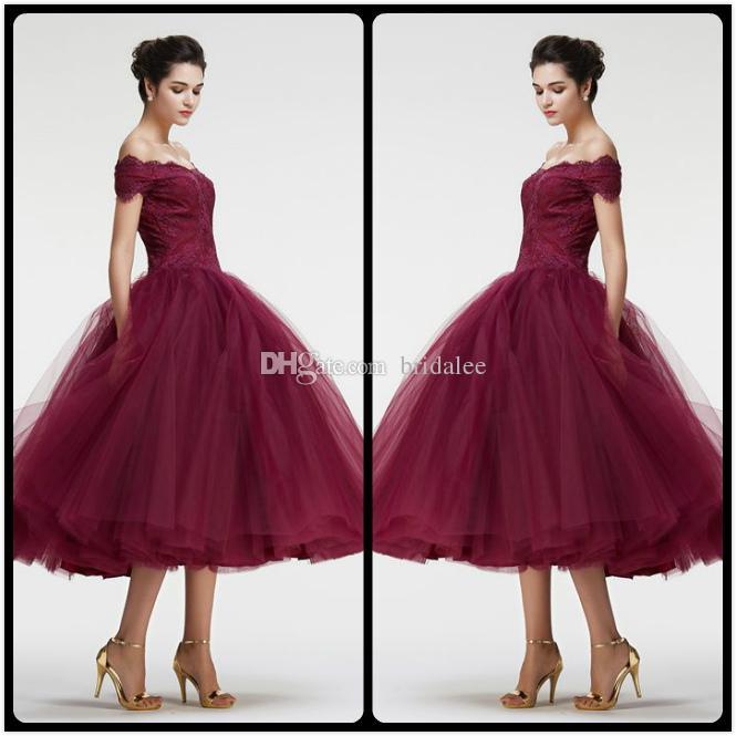 Burgundy Off the Shoulder Ball Gown VIntage Lace Prom Dresses Tea ...