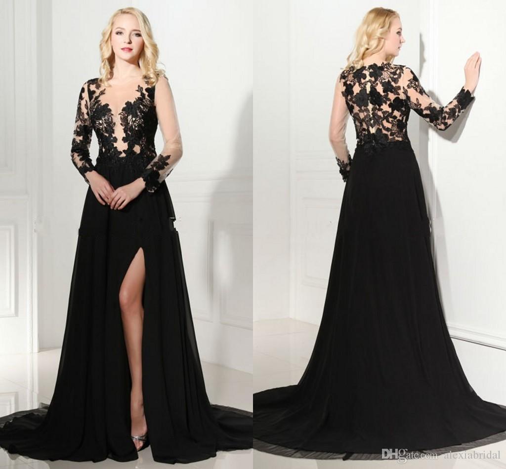 Vintage 2016 Long Sleeve Prom Dress With Front Side Split V Neck ...