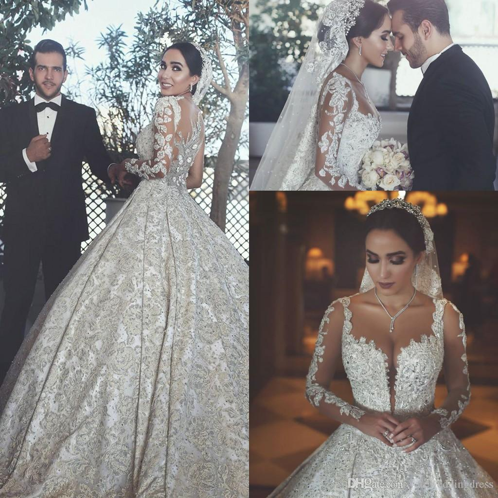Vintage Wedding Dresses For 2017 : Discount luxury vintage wedding dresses sheer neck